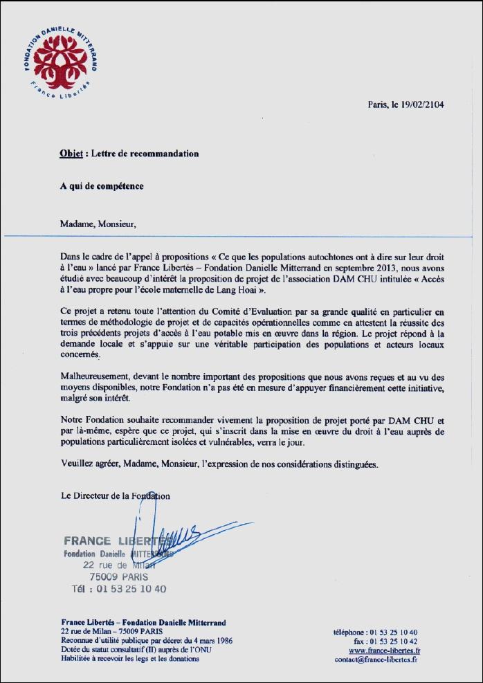 Lettre Fondation Danielle Mitterrand
